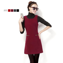 气质无袖呢子裙胖mm显瘦 修身毛呢背心连衣裙秋冬款有大码HFM1301 价格:88.66