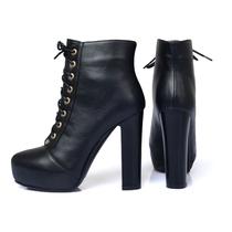 2013秋冬新款女漆皮短靴 高跟粗跟防水防滑毛绒欧美时尚马丁靴 价格:128.00