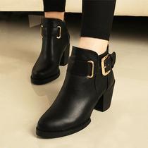 欧洲站2013春秋季女鞋骑士靴粗跟新款靴子高跟踝靴英伦欧美短靴 价格:138.00