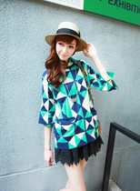 拼色杂志款双层蝙蝠菱格波普几何方块7分袖针织衫 毛衣 罩衫 女 价格:75.00