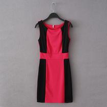 外贸尾单女装修身弹力高腰拼接无袖背心连衣裙 价格:39.99