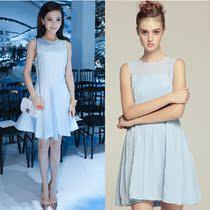 新店特价2013新女夏明星同款Angelababy水蓝色无袖百褶气质连衣裙 价格:99.00