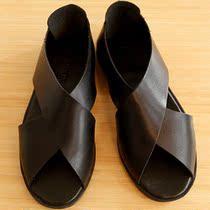 2013热带夏日式郊游度假真牛皮交叉带黑白蓝海滩沙滩凉拖鞋子男鞋 价格:128.00