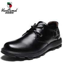 西域骆驼轻质尖头夏季系带板鞋橡胶牛皮缝制鞋低帮鞋流行男鞋 价格:258.00