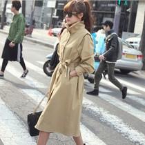 2013春秋女装韩国新款修身显瘦大码加长风衣长外套单排扣系带风衣 价格:178.60