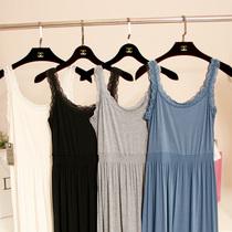 优蓝特价 韩国莫代尔纯棉花边吊带长裙 松紧腰纯色针织打底连衣裙 价格:55.00