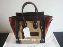 【欧洲专卖代购】CELINE luggage笑脸包 MINI 米棕红拼色 价格:17290.00