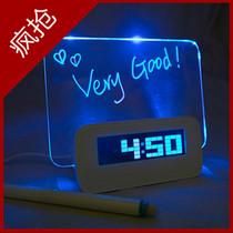 好时达静音懒人多功能夜光荧光留言板时钟电子钟投影闹钟创意礼品 价格:43.88