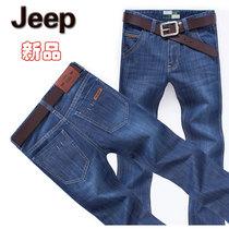 新品包邮 2013秋款Jeep男士牛仔裤 大码直筒商务个性贴皮时尚裤子 价格:98.00