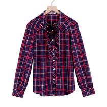 【酷女孩专享】  2013女装韩版潮修身格子衬衫纯棉外套女 特价 价格:79.00