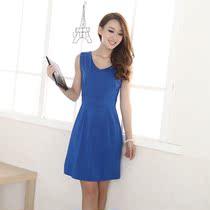 夏季新款女装无袖韩版修身显瘦牛奶丝连衣裙 女 中裙 活动包邮 价格:9.90