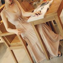 韩国东大门代购进口女装夏天连衣裙韩版长裙拖地雪纺v领裸色性感 价格:59.00