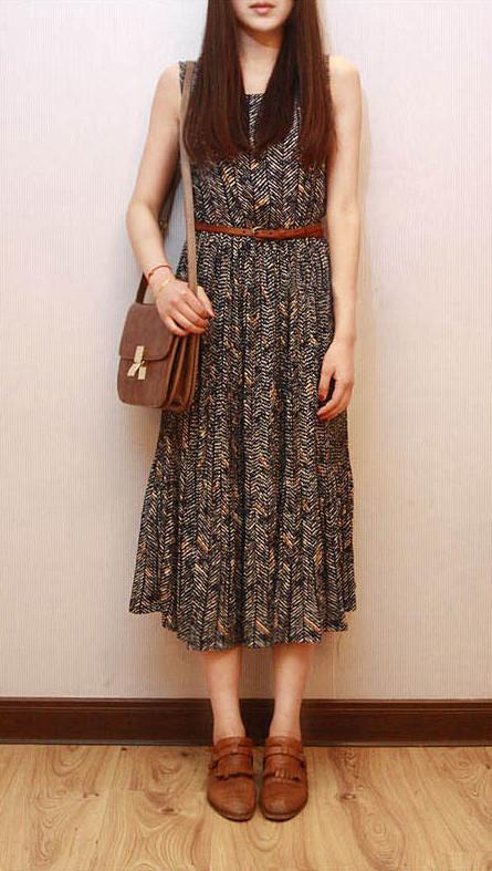 夏 日单复古 细百褶波西米亚雪纺背心无袖修身古花纹连衣长裙 R06 价格:40.00