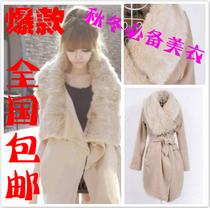 反季清仓毛呢外套冬装新款韩版兔毛领毛呢外套修身中长款妮子大衣 价格:116.55