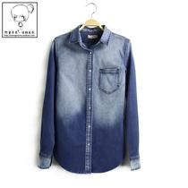 2013秋季韩国单 贝壳扣显瘦修身渐变牛仔衬衣 高品质长袖牛仔衬衫 价格:79.00