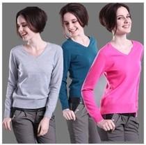 秋冬新款羊绒衫修身V领打底衫毛衣短款羊毛衫针织衫低领女装清仓 价格:53.35