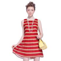 [2件6折]歌莉娅goelia2013夏季新款条纹无袖雪纺连衣裙33E4A66A 价格:249.00