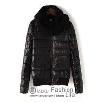 包邮棉衣2013秋冬新款修身保皮拼接袖棉服女装短外套送围脖EAW038 价格:118.00