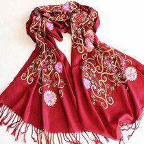 刺绣民族风全棉围巾羊毛围巾韩国秋冬女士夏季防晒披肩两用超长大 价格:49.00