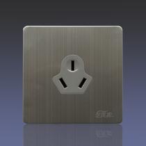 不锈钢拉丝金属面板开关插座墙壁插座开关艺术家C3骑士三孔16A 价格:12.06