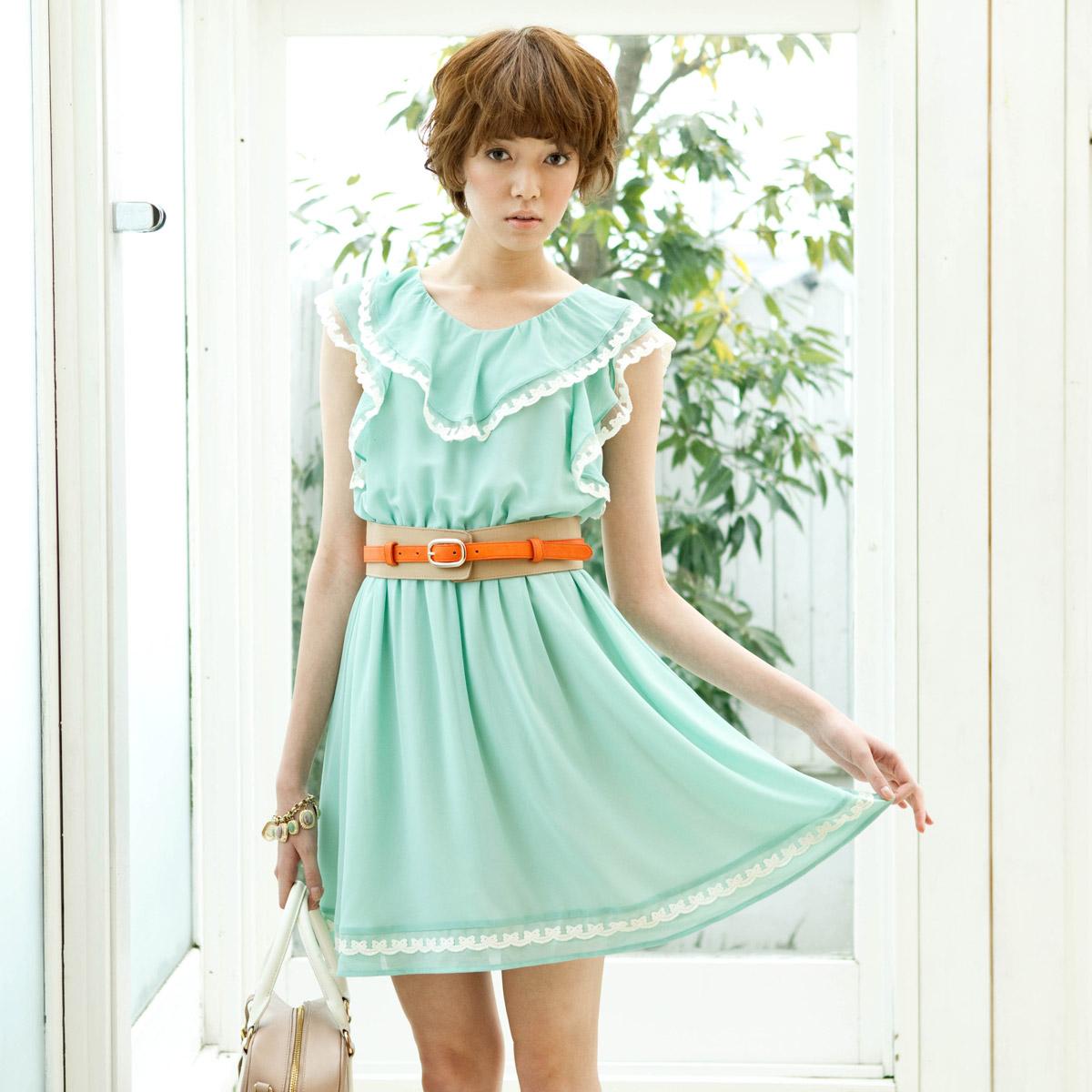 歌莉娅GOELIA 2012夏季新款  荷叶边雪纺连衣裙26E4B58A 价格:169.00