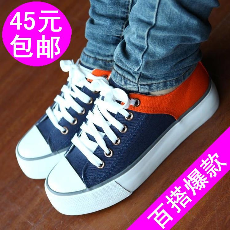 包邮秋季新款韩版厚底松糕帆布女鞋 休闲学生板鞋系带拼色单鞋子 价格:45.00