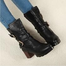 欧美风秋冬粗跟高跟高筒短靴方根木跟靴马丁靴皮带扣女靴子女鞋潮 价格:99.00