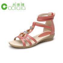 红蜻蜓旗下/coolala 2013夏季新款平跟真皮凉鞋波西米亚女凉鞋子 价格:139.00