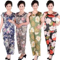 母亲节礼物新款中老年女装夏装真丝大码短袖妈妈装套头套装绸缎T 价格:35.00