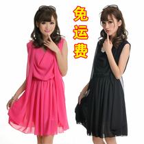 2013夏季新款女装韩版甜美背心裙大码显瘦款修身雪纺无袖连衣裙子 价格:29.88