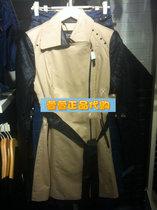 包邮ONLY2013秋装新品海报款PU拼接修身中长款女风衣T|113336009 价格:355.00