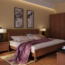 华日家居中式1.5/1.8米简约实木双人床 价格:3299.00