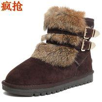 包邮冬季正品EO2兔毛中筒雪地靴女士皮带扣机车靴圆头骑士靴短靴 价格:145.00