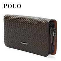 美国POLO正品男士钱包大容量真皮手腕包包复古编织男式手包手拿包 价格:199.01