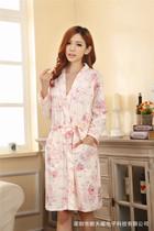 秋季新款 韩版长袖女士高贵气质针织棉睡袍/两件套连衣袍家居服 价格:98.00
