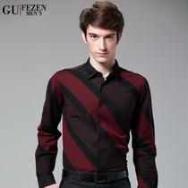 衬衫 男 长袖 2013新款秋装男装条纹修身纯棉长袖男衬衣休闲潮 价格:180.00