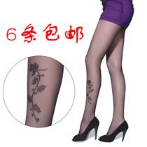 防勾丝女秋季日系性感刺青纹身丝袜批发 包芯丝超薄提花连裤袜 价格:9.80