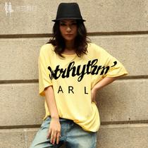 米兰假日 2013夏季新款欧美女装 高档宽松街头字母大码短袖t恤棉 价格:39.00