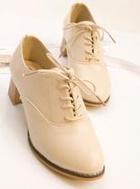 2013春秋季真皮高跟鞋单鞋女中跟粗跟潮英伦女鞋学院风复古单鞋女 价格:118.00