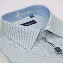 蓝威龙13夏季新款短袖衬衫 高档全棉商务清爽蓝格衬衣1088-98正品 价格:174.24