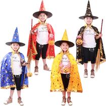 万圣节服装 儿童披风斗蓬表演套装鬼衣公主女巫婆装扮帽子 南瓜桶 价格:26.50