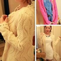 女2013秋冬新款针织毛衣外套甜美韩版珍珠扣花边领竖波浪镂空开衫 价格:43.00