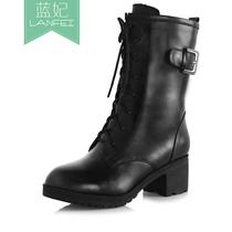 蓝妃 新款秋冬欧美真皮系带中粗跟短靴英伦女马丁靴军靴机车靴子 价格:299.00