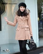 正品韩版新款修身秋冬细带双排扣毛领外套中长款女士毛呢高档大衣 价格:458.00