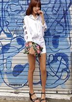 进口韩国代购dahong时尚起义8月夏季新款镂空衣袖衬衫634621 价格:302.00
