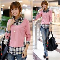 衬衣领针织衫女套头秋装格子假两件套衬衫女长袖韩版修身女士上衣 价格:55.00