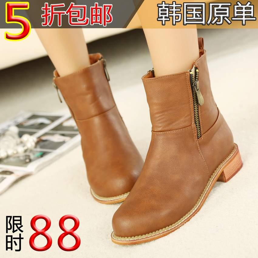 2013新款短靴女靴马丁靴子韩版单靴中筒靴中跟靴春秋冬女式靴女鞋 价格:88.00