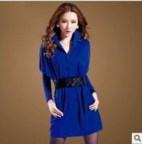 2013秋装女长袖立领通勤韩版修身 显瘦蝙蝠袖拼接时尚气质连衣裙 价格:105.00