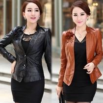 女士皮衣2013秋冬装新中年修身短款PU短外套加大码女装秋天皮尤天 价格:145.00