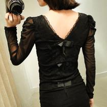 包邮秋装新品 2013韩版大码女装蕾丝网纱潮长袖t恤修身显瘦打底衫 价格:39.00